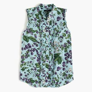 J CREW sleeveless button-up fruity floral R10